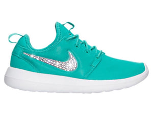 Bling Nike Roshe Two Shoes with Swarovski Crystals * Teal / White * Bedazzled Authentic Swarovski Crystal Rhinestones