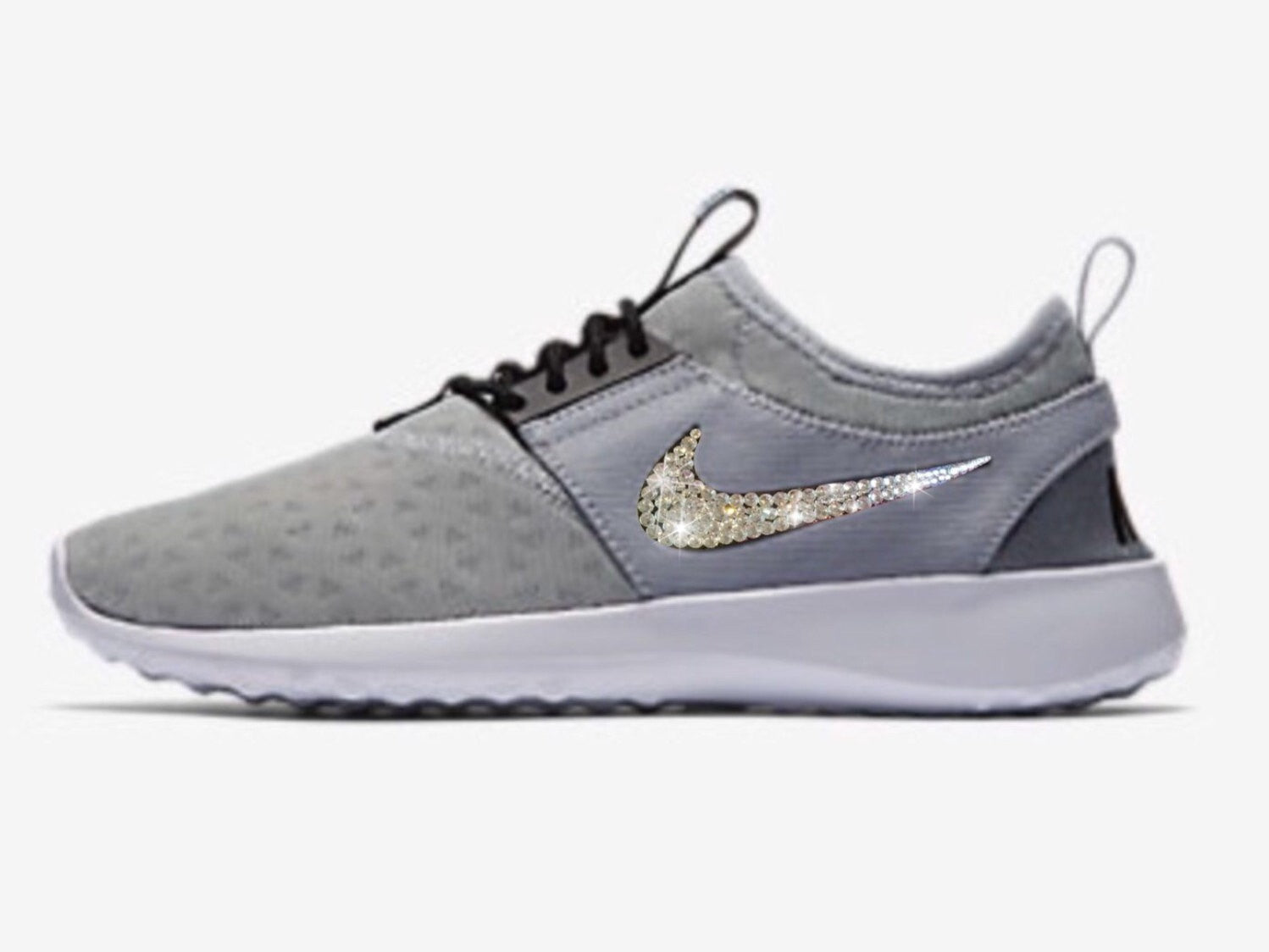 Bling Nike Juvenate Shoes w/ Swarovski Crystals GREY w/ ALL 4 Bedazzled Swooshes