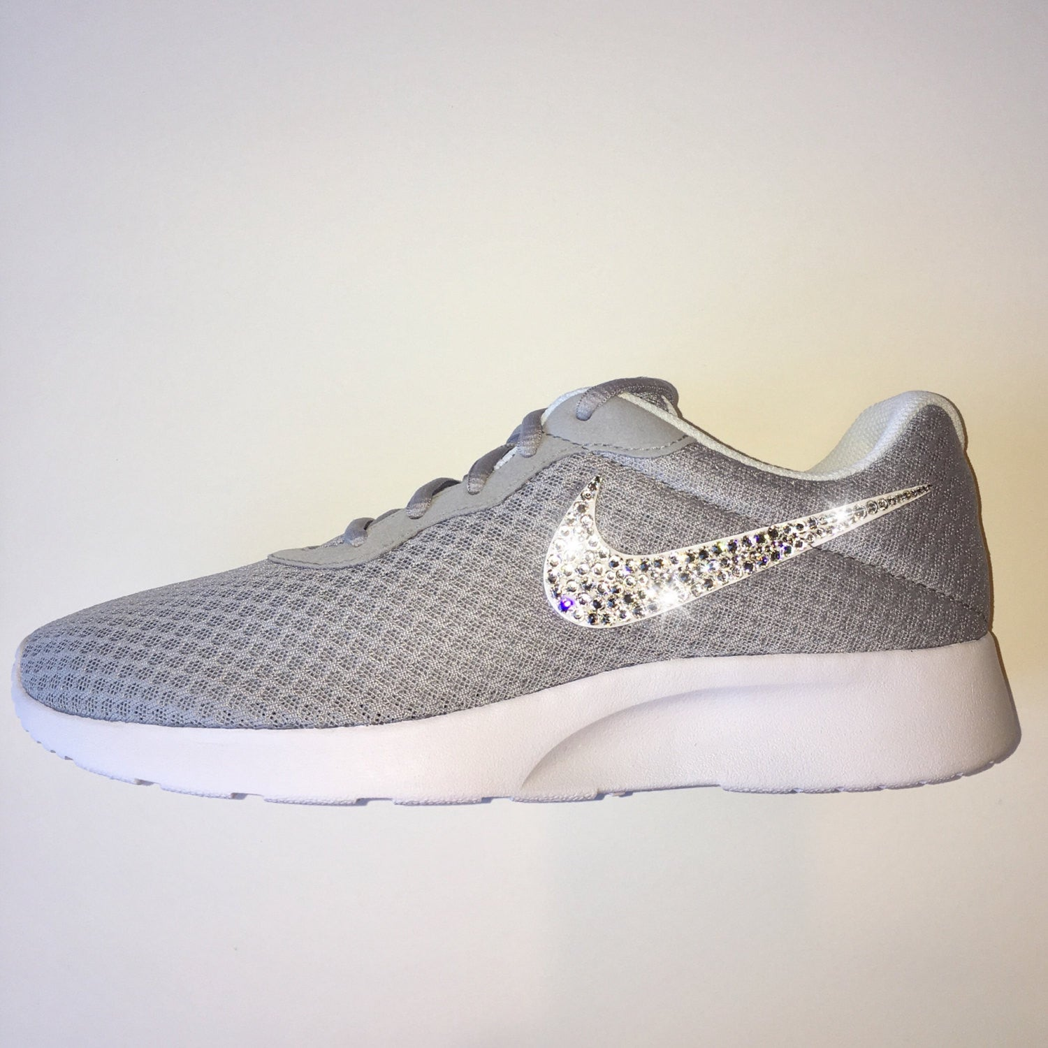 7aa27de5ff90a9 ... Bling Nike Tanjun Shoes with Swarovski Crystals  Grey   White    Bedazzled Shoes with Rhinestones ...