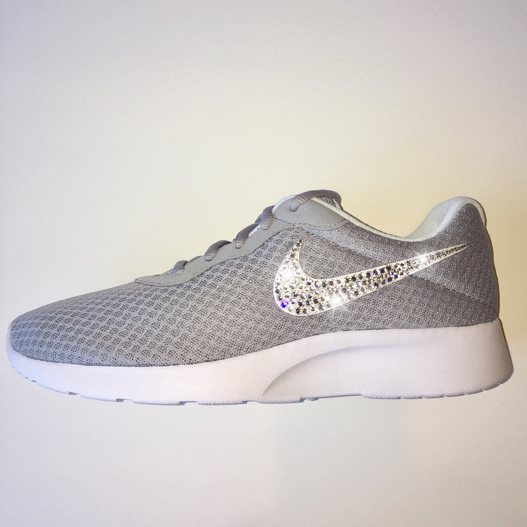 Bling Nike Tanjun Shoes with Swarovski Crystals *Grey & White * Bedazzled Shoes with Rhinestones