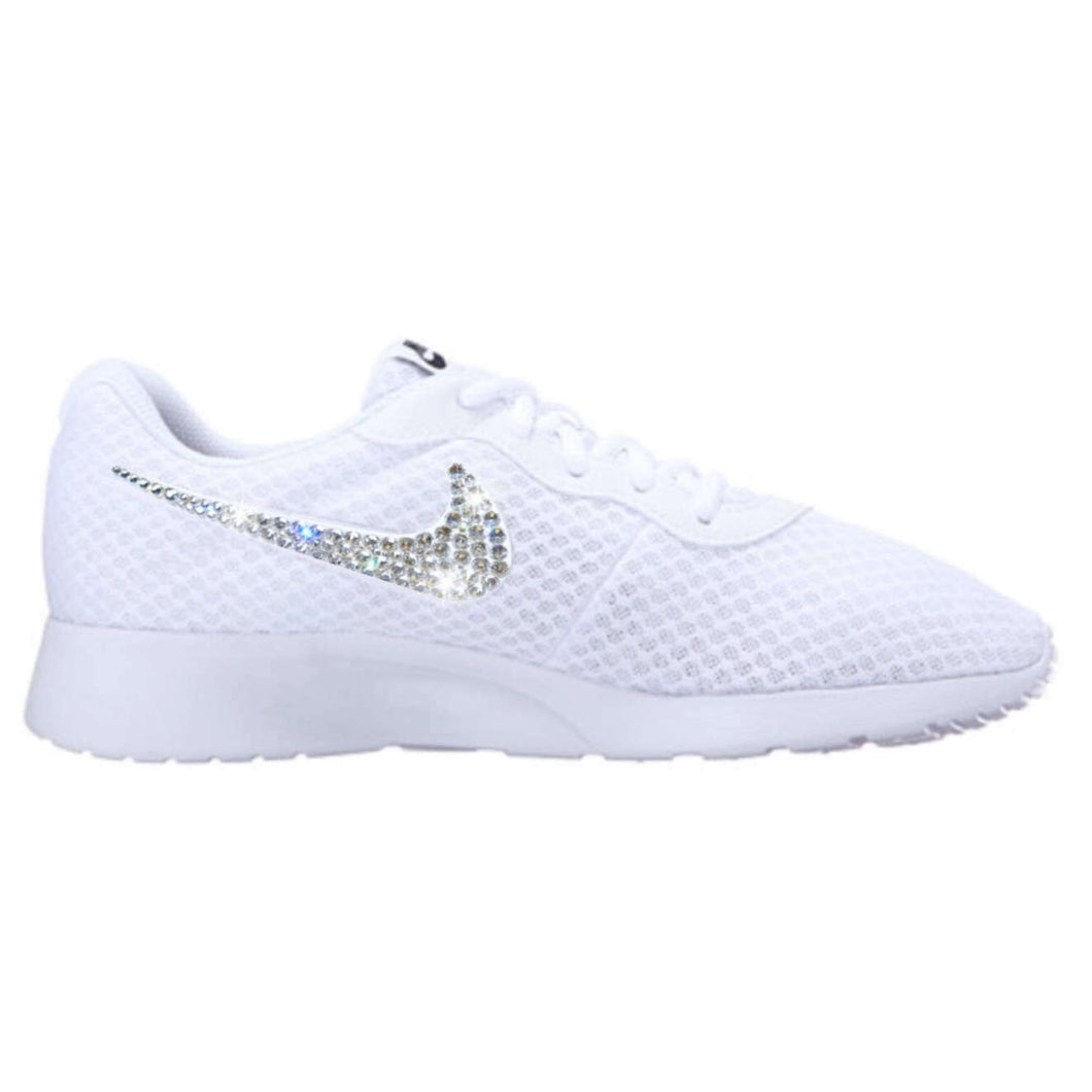 Bling Nike Tanjun Shoes with Swarovski Crystals * White * Bedazzled Shoes with Rhinestones