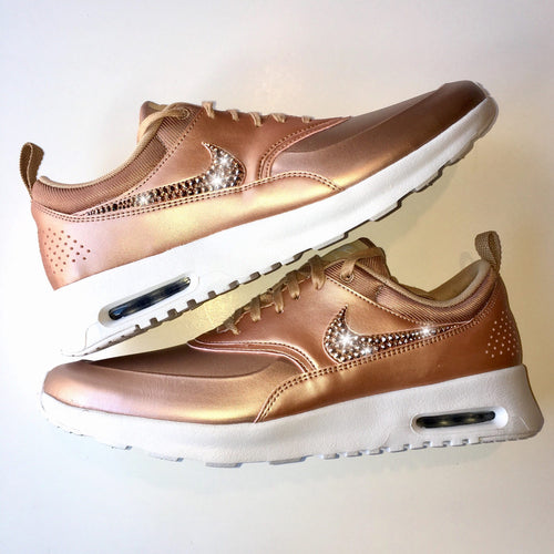 ROSE GOLD Bling Nike Air Max Thea Metallic SE Shoes with Swarovski Crystals * Bedazzled with 100% Authentic Swarovski Crystal Rhinestones