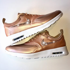 big sale 2ba6c b0c17 ROSE GOLD Bling Nike Air Max Thea Metallic SE Shoes with Swarovski Crystals    Bedazzled with