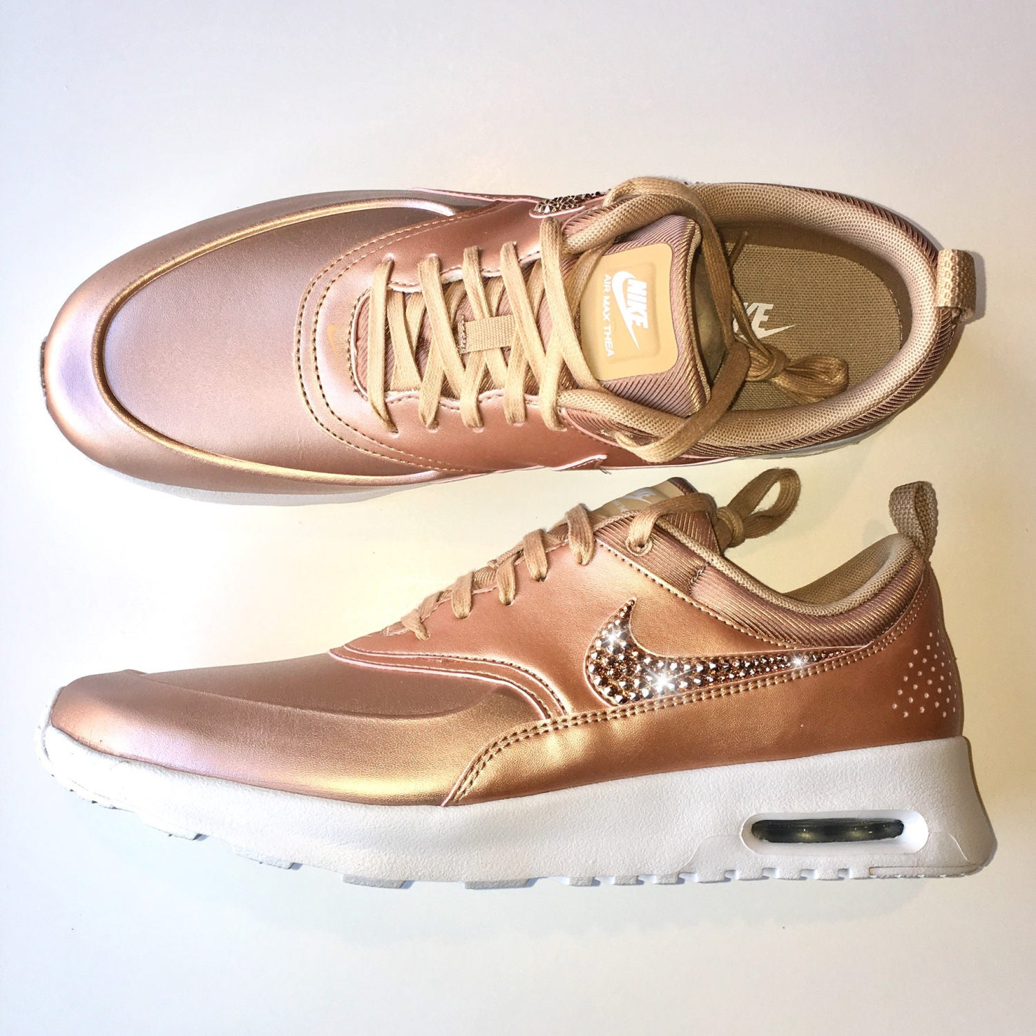 check out eeefc 566fa ROSE GOLD Bling Nike Air Max Thea Metallic SE Shoes with Swarovski Crystals    Bedazzled with ...