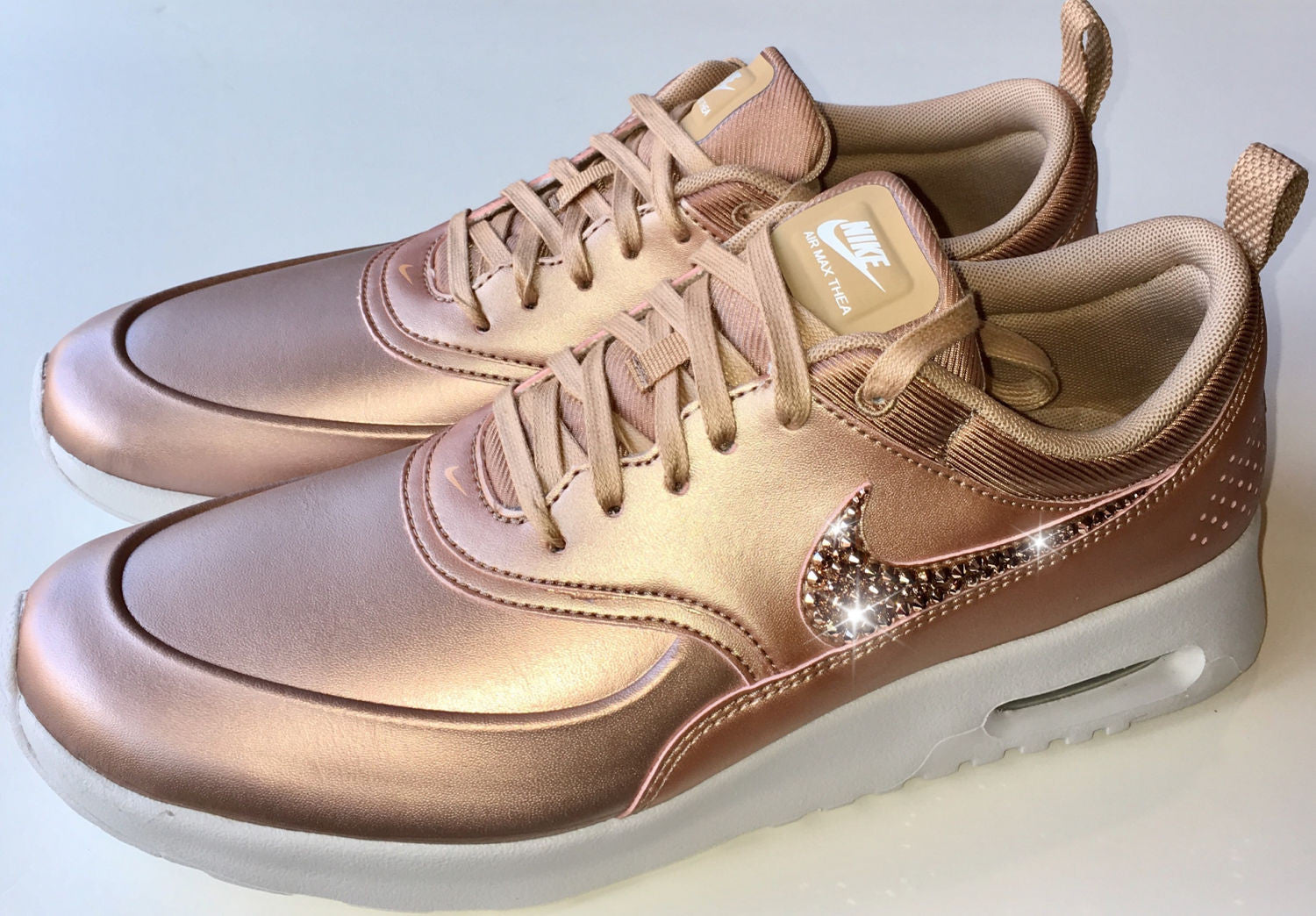 098c0c498b39 ... ROSE GOLD Bling Nike Air Max Thea Metallic SE Shoes with Swarovski  Crystals   Bedazzled with ...