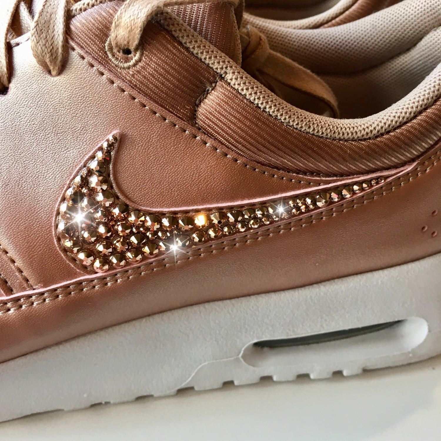 e09e51ae81 ... ROSE GOLD Bling Nike Air Max Thea Metallic SE Shoes with Swarovski  Crystals * Bedazzled with ...