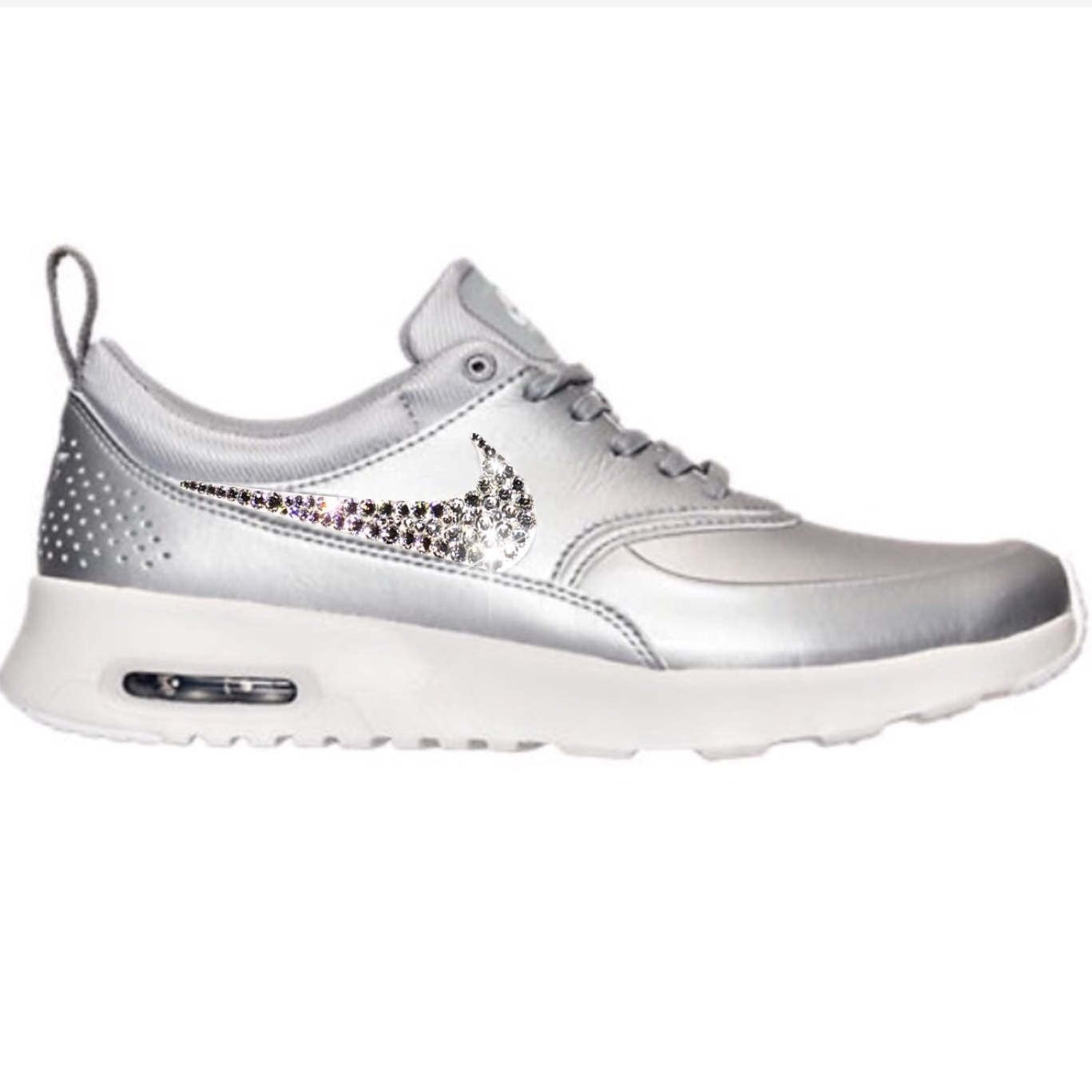 f674903f7a2f Bling Nike Air Max Thea Metallic Silver SE Shoes with Swarovski Crystals    Bedazzled with 100 ...