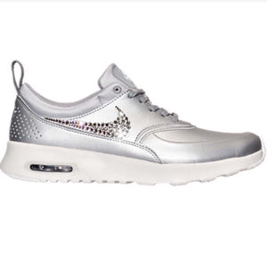 buy popular 0ba37 9599b Bling Nike Air Max Thea Metallic Silver SE Shoes with Swarovski Crystals    Bedazzled with 100