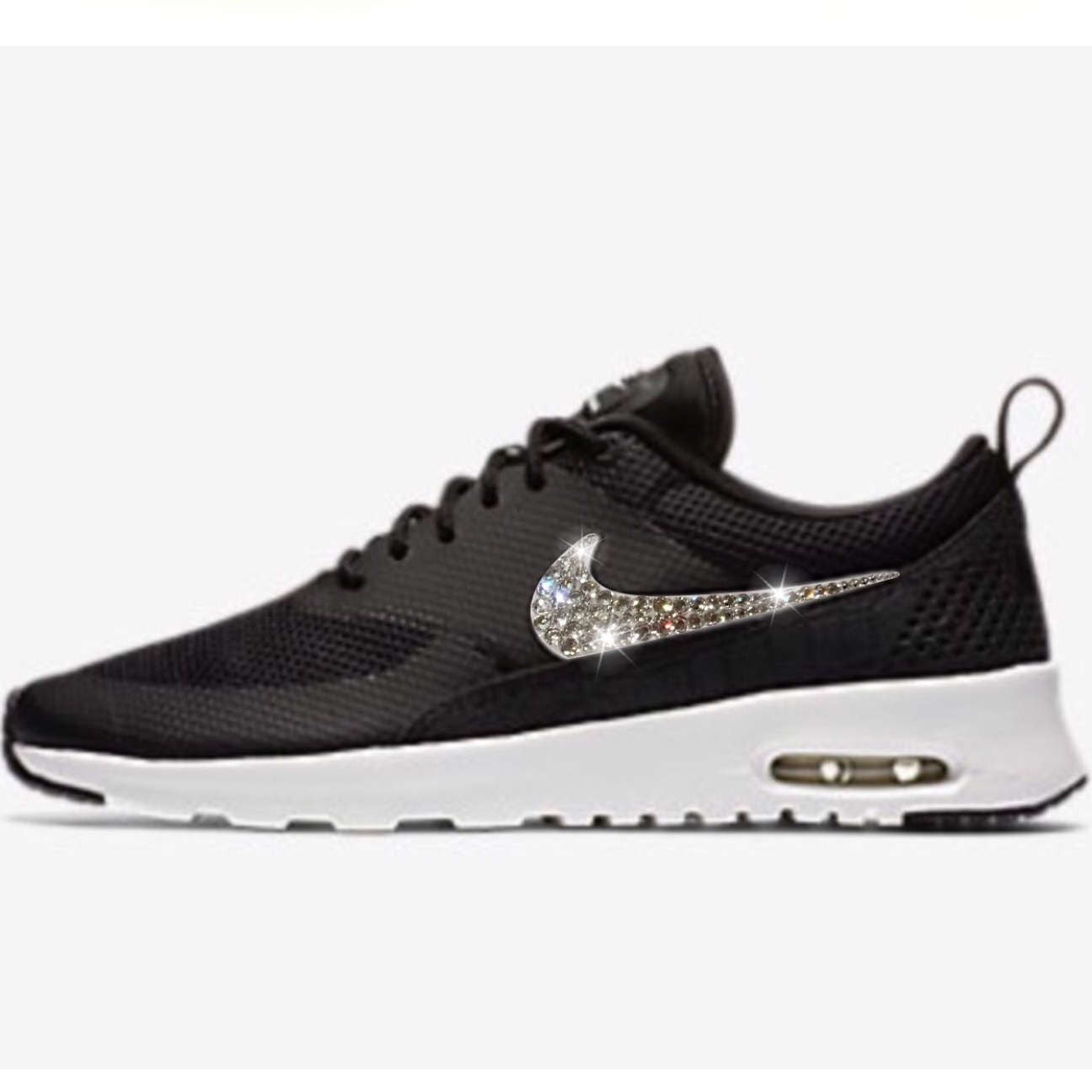 buy online 7a1c9 208c6 Bling Nike Air Max Thea Shoes with Swarovski Crystals   Black   White    Bedazzled with ...
