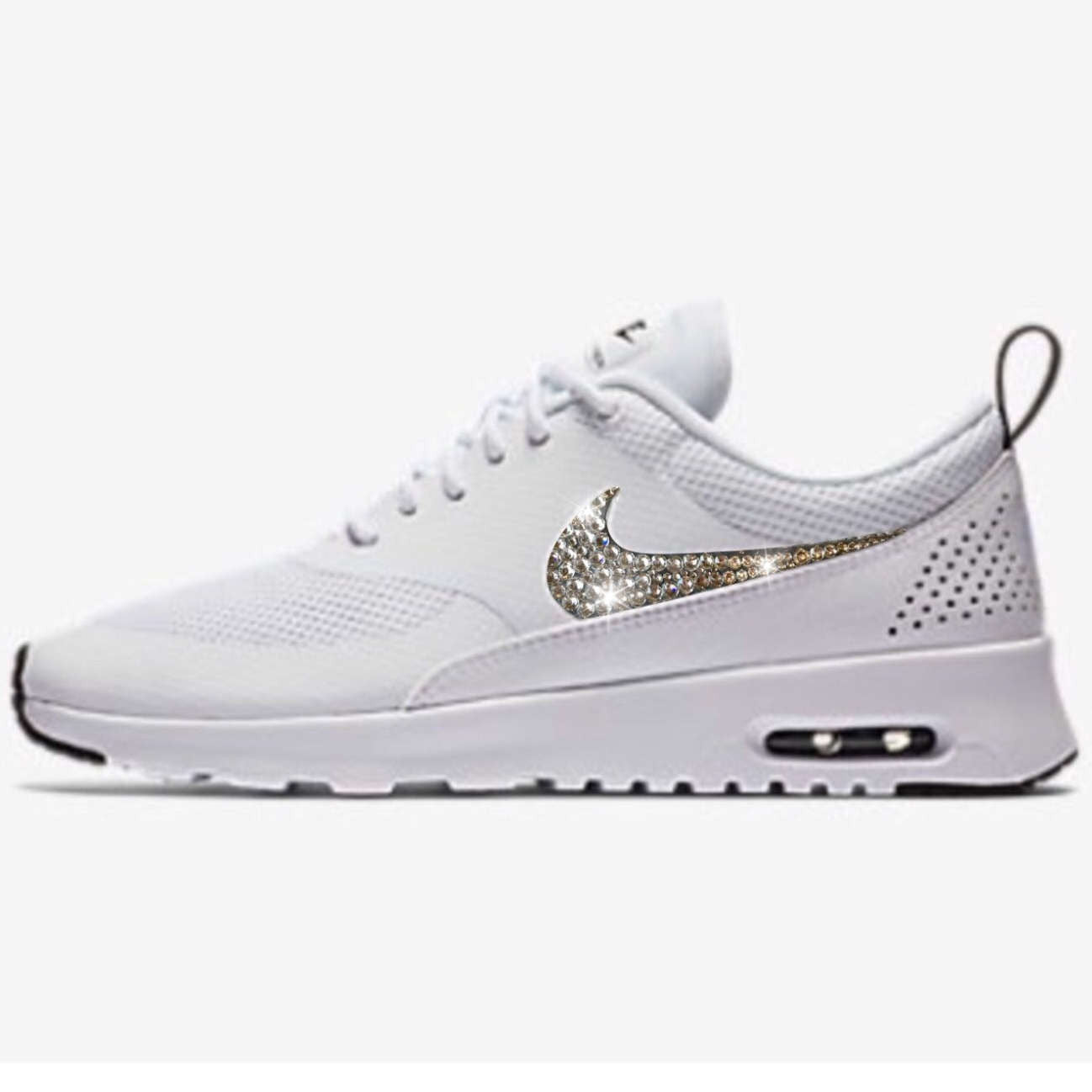 competitive price 573d3 b7f6a Bling Nike Air Max Thea Shoes with Swarovski Crystals   White   Black    Bedazzled with ...