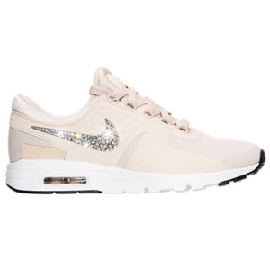 Nude Bling Nike Air Max Zero Women's Shoes with Swarovski Crystal Bedazzled  Swooshes * Oatmeal /