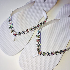 Cute Daisy Chain Flowers - Sparkly Bling Flip Flops Sandals Handmade with real Crystals from Swarovski Thongs Sandals