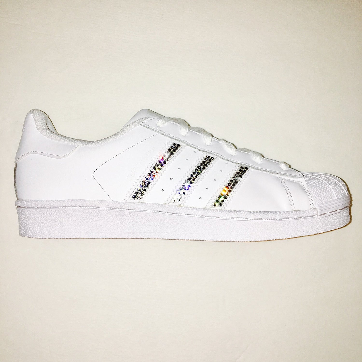 Bling Adidas with Swarovski Crystals   Women s Original Superstar Shoes  Bedazzled w  CLEAR Swarovski Crystal ... a5f2837f52e4