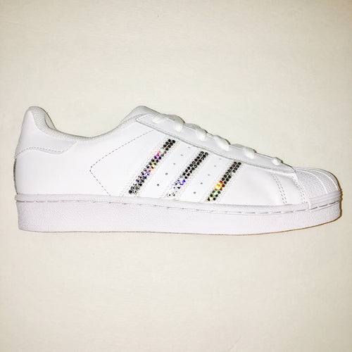 Bling Adidas with Swarovski Crystals * Women's Original Superstar Shoes Bedazzled w/ CLEAR Swarovski Crystal Rhinestones