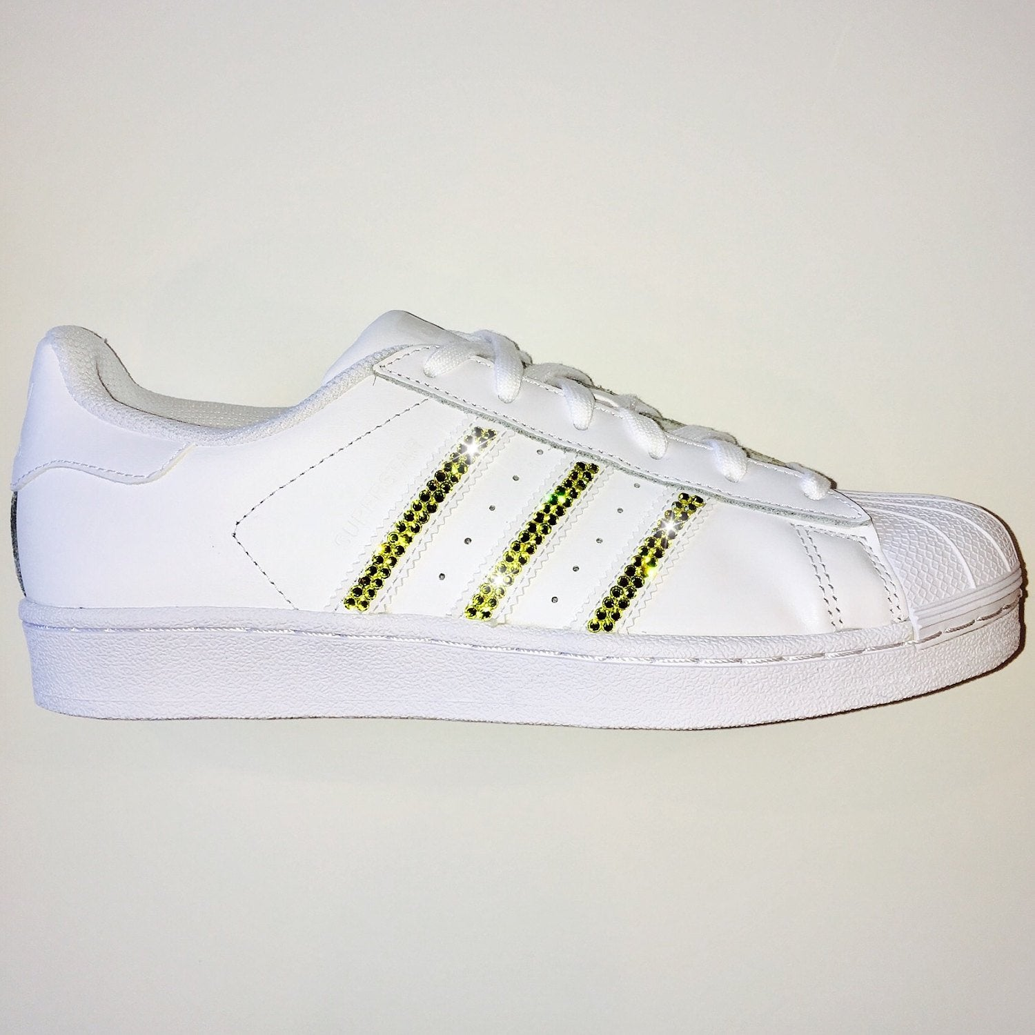 Bling Adidas with Swarovski Crystals   Women s Original Superstar Shoes  Bedazzled w  YELLOW Swarovski Crystal ... 445ed8475a88