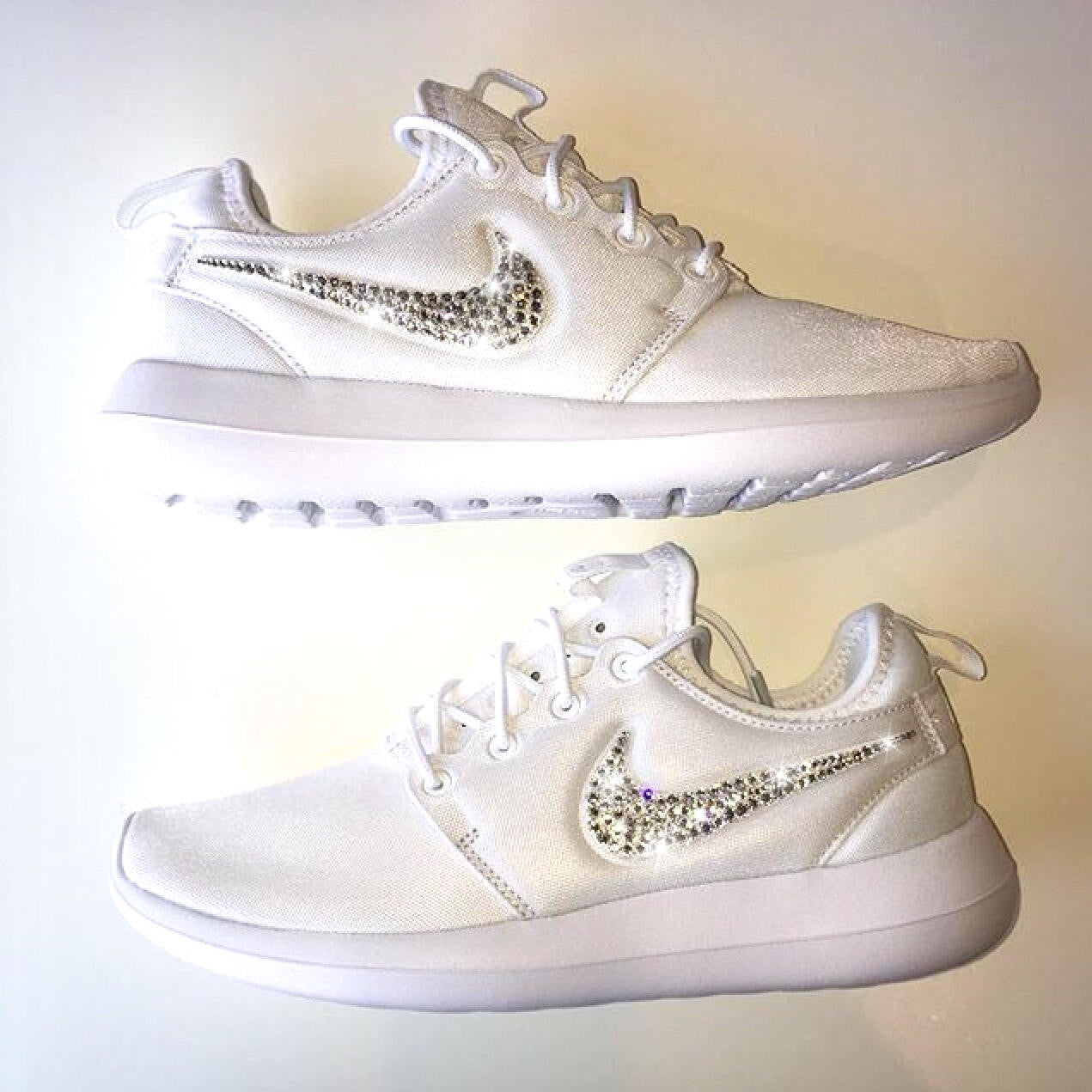 a3e926a814fd ... Bling Nike Roshe Two Shoes with Swarovski Crystals   White   Bedazzled  Authentic Swarovski Crystal Rhinestones ...