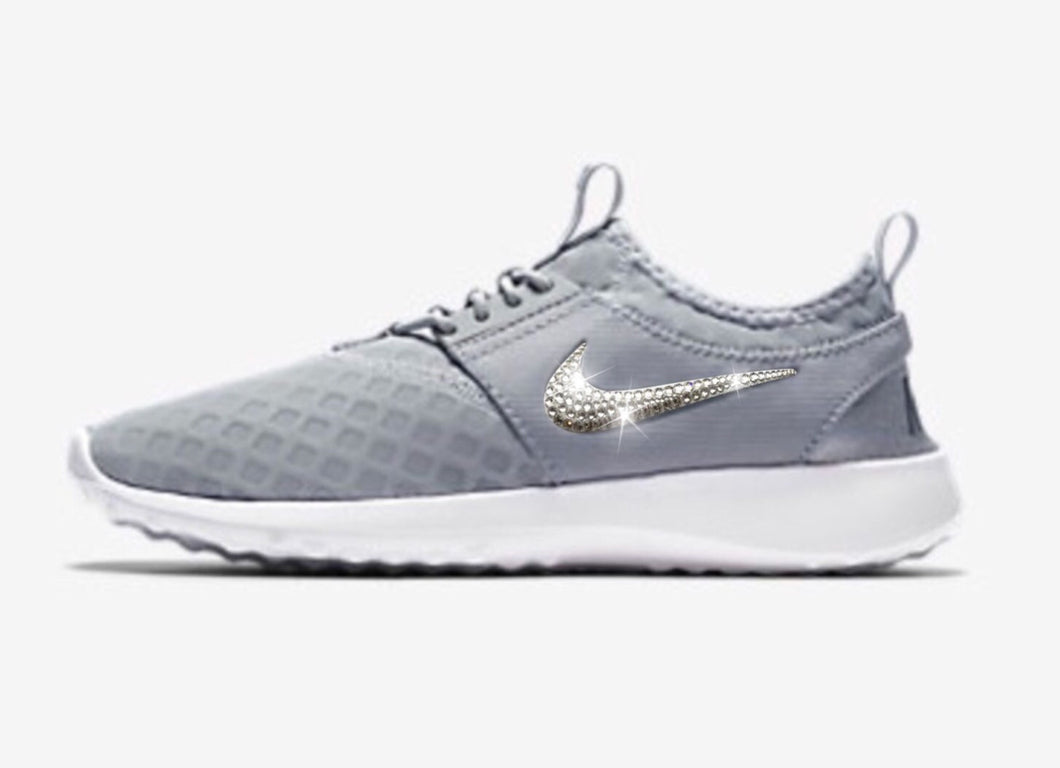 SALE! Bling Nike Juvenate Shoes with Swarovski Crystals * Grey / White * Bedazzled w/100% Authentic Swarovski Crystal Rhinestones