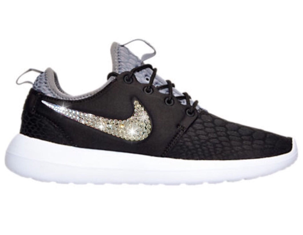 Bling Nike Roshe Two SE Shoes with Swarovski Crystals * Black / White * Bedazzled Authentic Swarovski Crystal Rhinestones