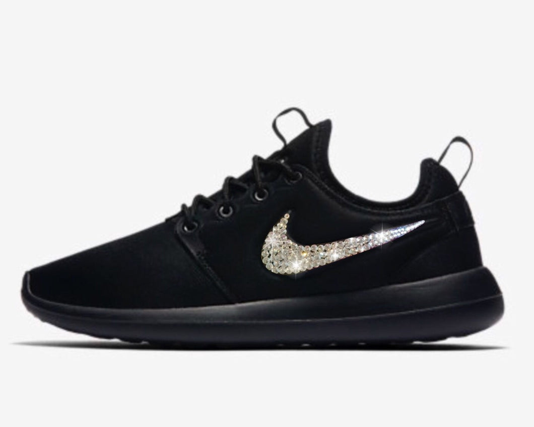 Bling Nike Roshe Two Shoes with Swarovski Crystals * Black * Bedazzled Authentic Swarovski Crystal Rhinestones