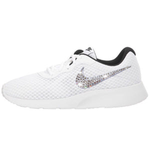 Bling Nike Tanjun Shoes with Swarovski Crystals * White & Black * Bedazzled Shoes with Rhinestones