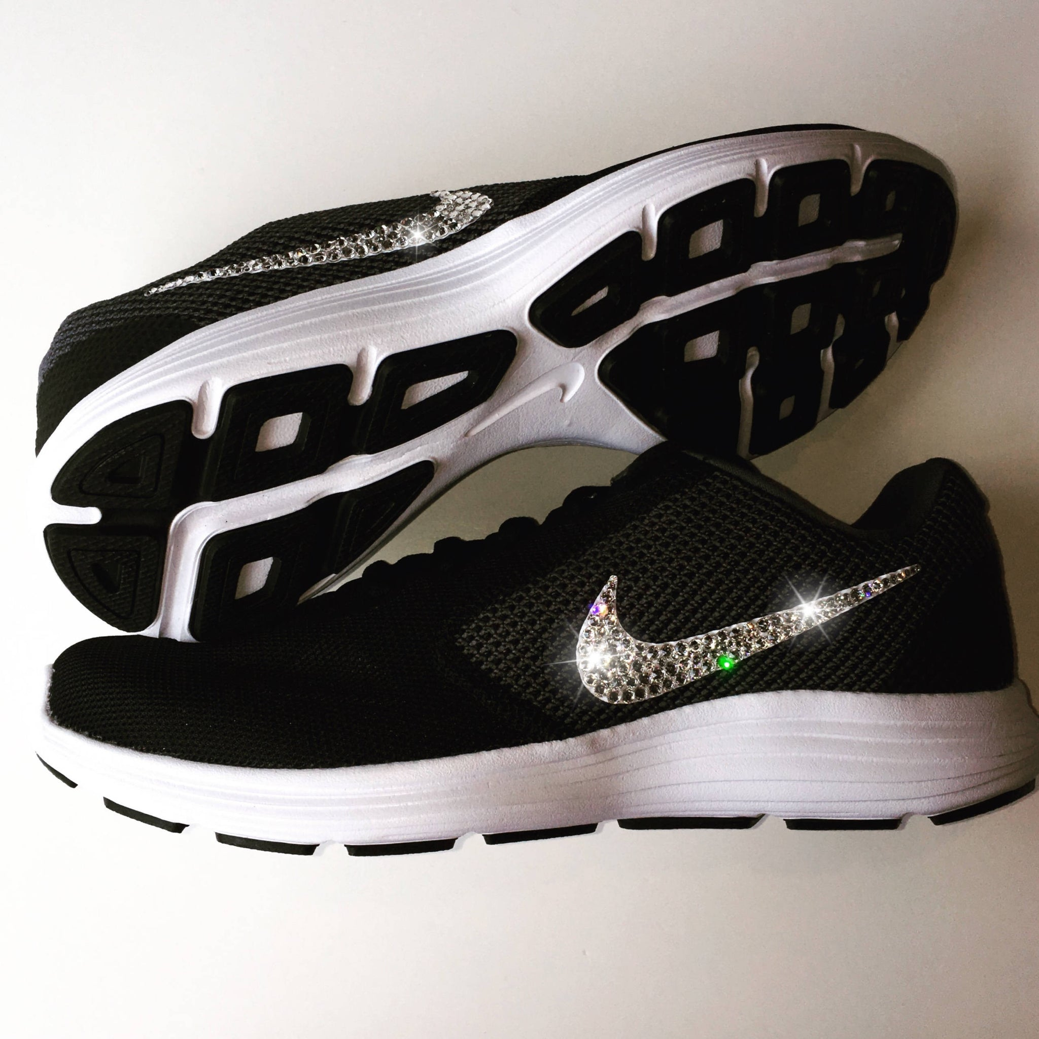 5b469ce7fdd Bling Nike Revolution 3 Shoes with Swarovski Crystals   Black   White    Bedazzled with Authentic ...