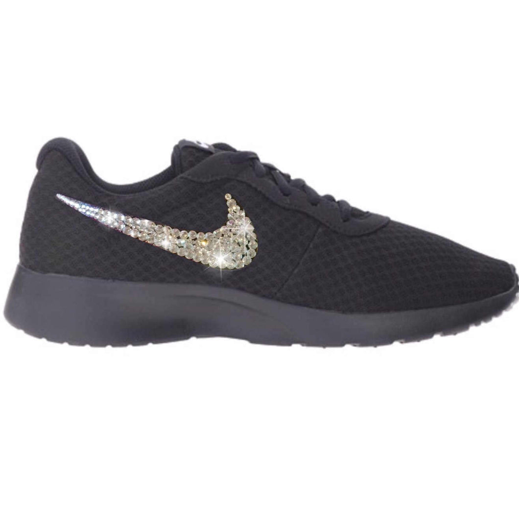 Bling Nike Tanjun Shoes with Swarovski Crystals * All  Black * Bedazzled Shoes with Rhinestones