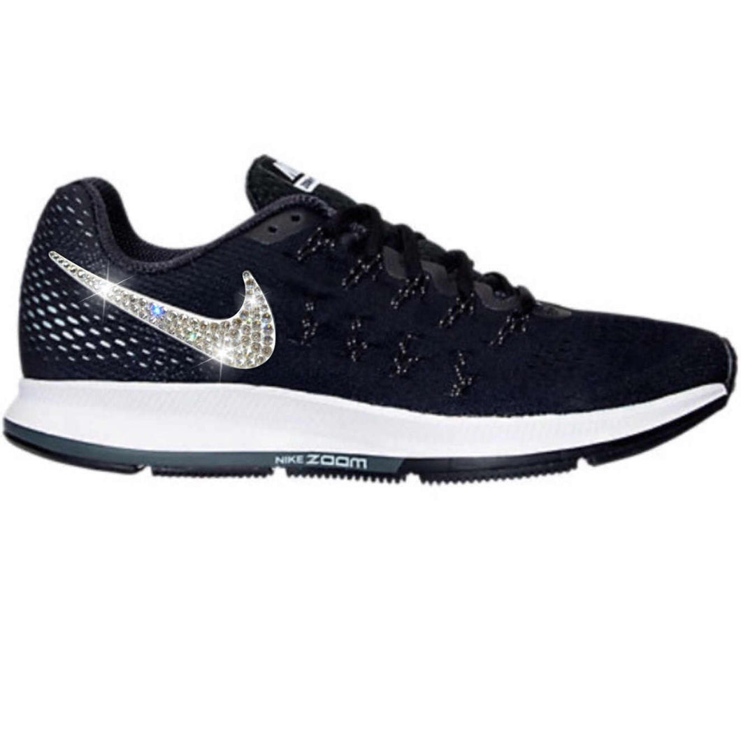 Bling Nike Air Zoom Pegasus 33 Shoes with Swarovski Crystals * Black * Bedazzled w/ 100% Authentic Swarovski Crystal Rhinestones
