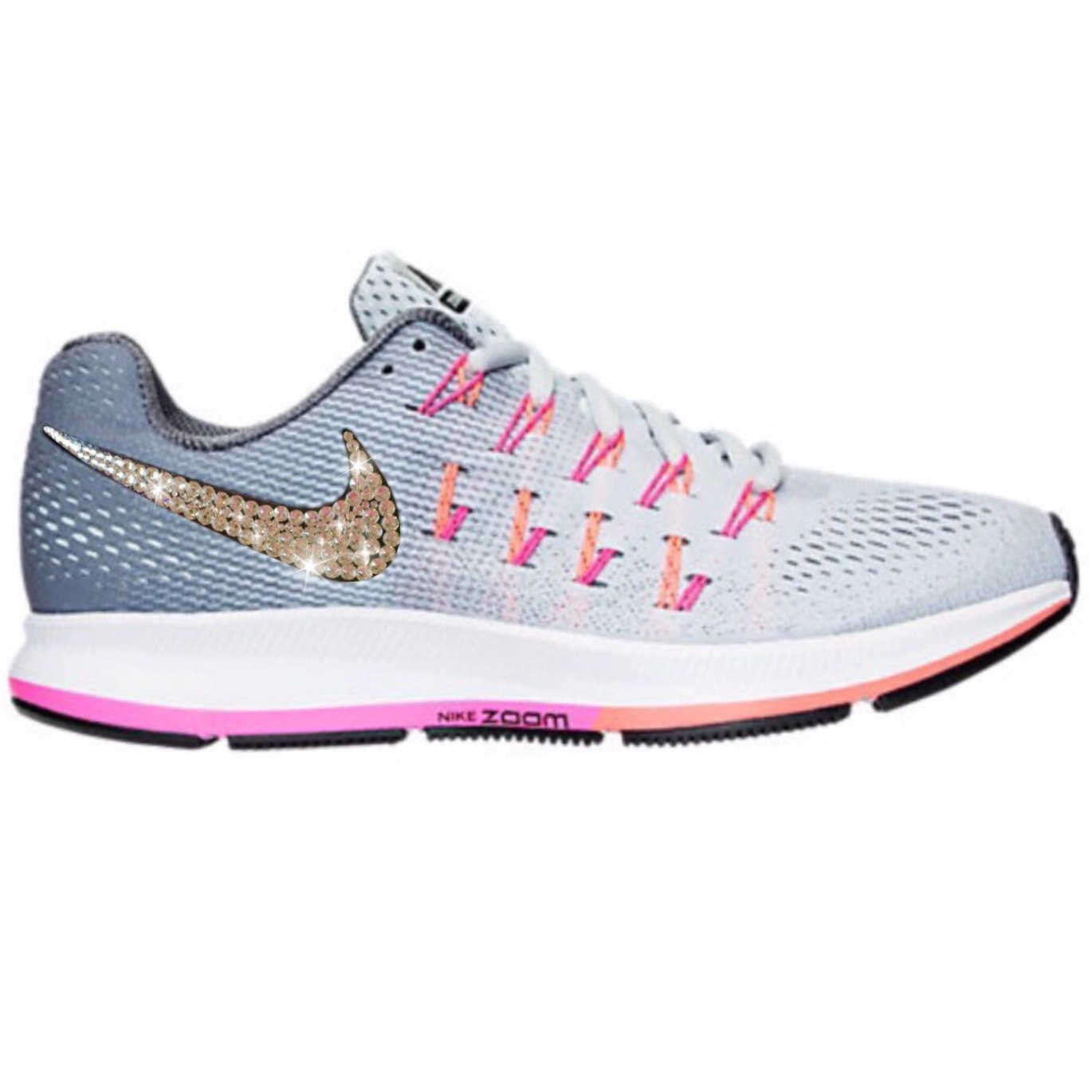 Bling Nike Air Zoom Pegasus 33 Shoes with Swarovski Crystals   Grey   Pink    Bedazzled ... 0eeaddebb