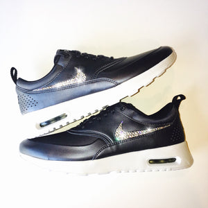 Jet Hematite Bling Nike Air Max Thea Metallic SE Shoes with Swarovski Crystals * Bedazzled with 100% Authentic Swarovski Crystal Rhinestones