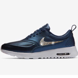 Bling Nike Air Max Thea Metallic Midnight Navy Blue SE Shoes with Swarovski Crystals * Bedazzled with 100% Authentic Swarovski Crystals
