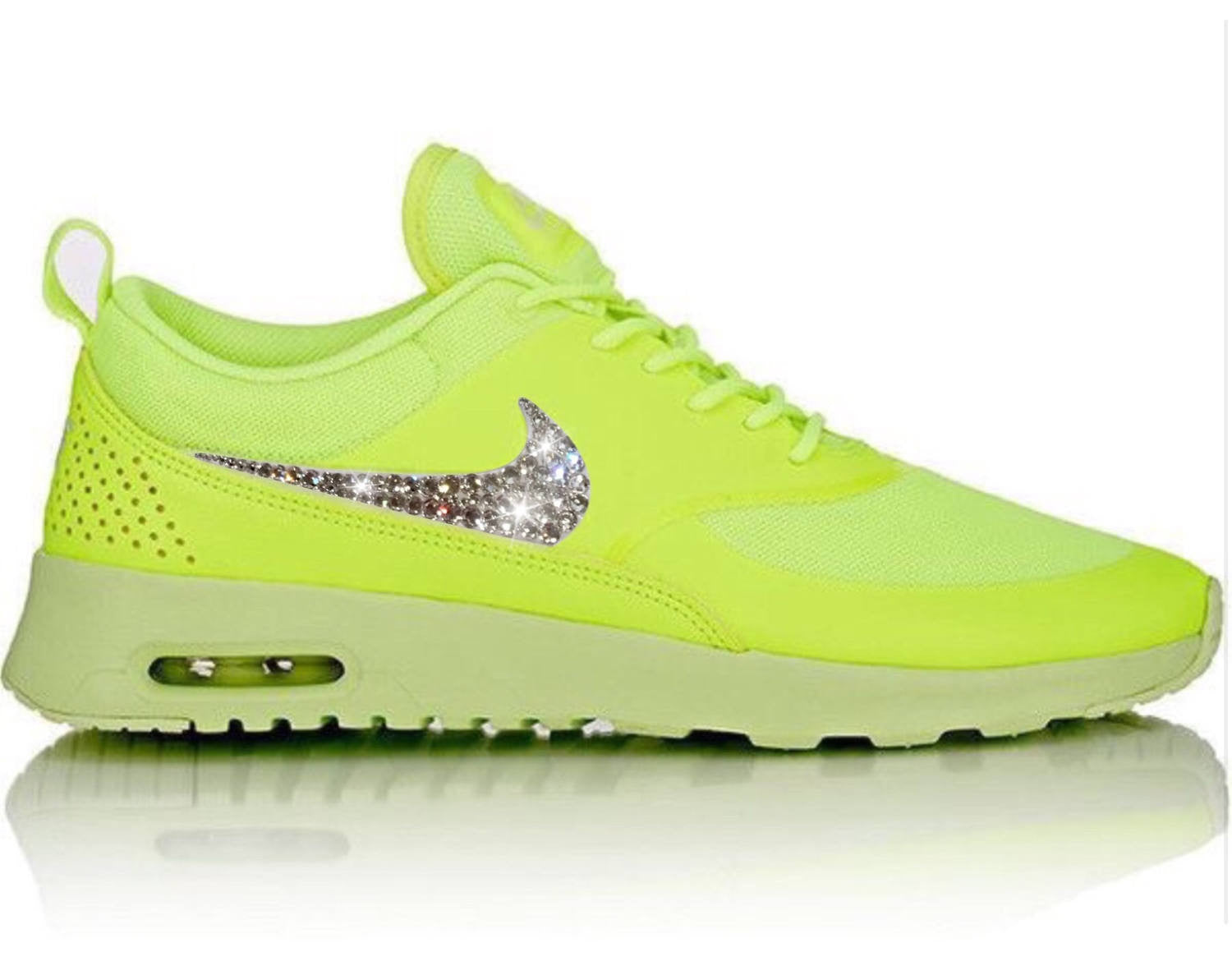 6a5451ff4a5a Bling Nike Air Max Thea Shoes in Neon Yellow   Volt with Swarovski Crystal Bedazzled  Swooshes ...
