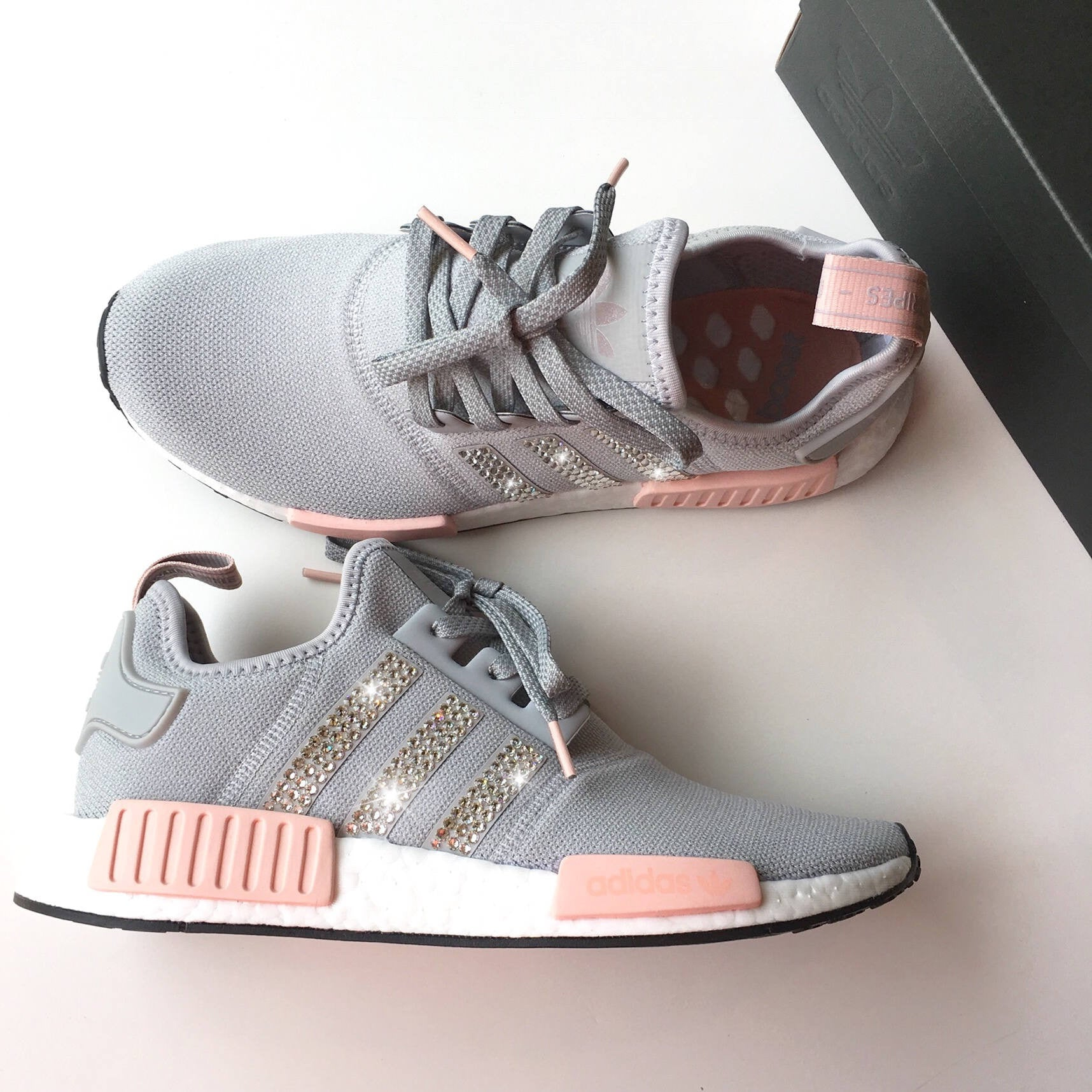 54d06f8a70555 ... order new bling adidas nmd with swarovski crystals womens originals nmdr1  runners casual shoes 8678c 964c8