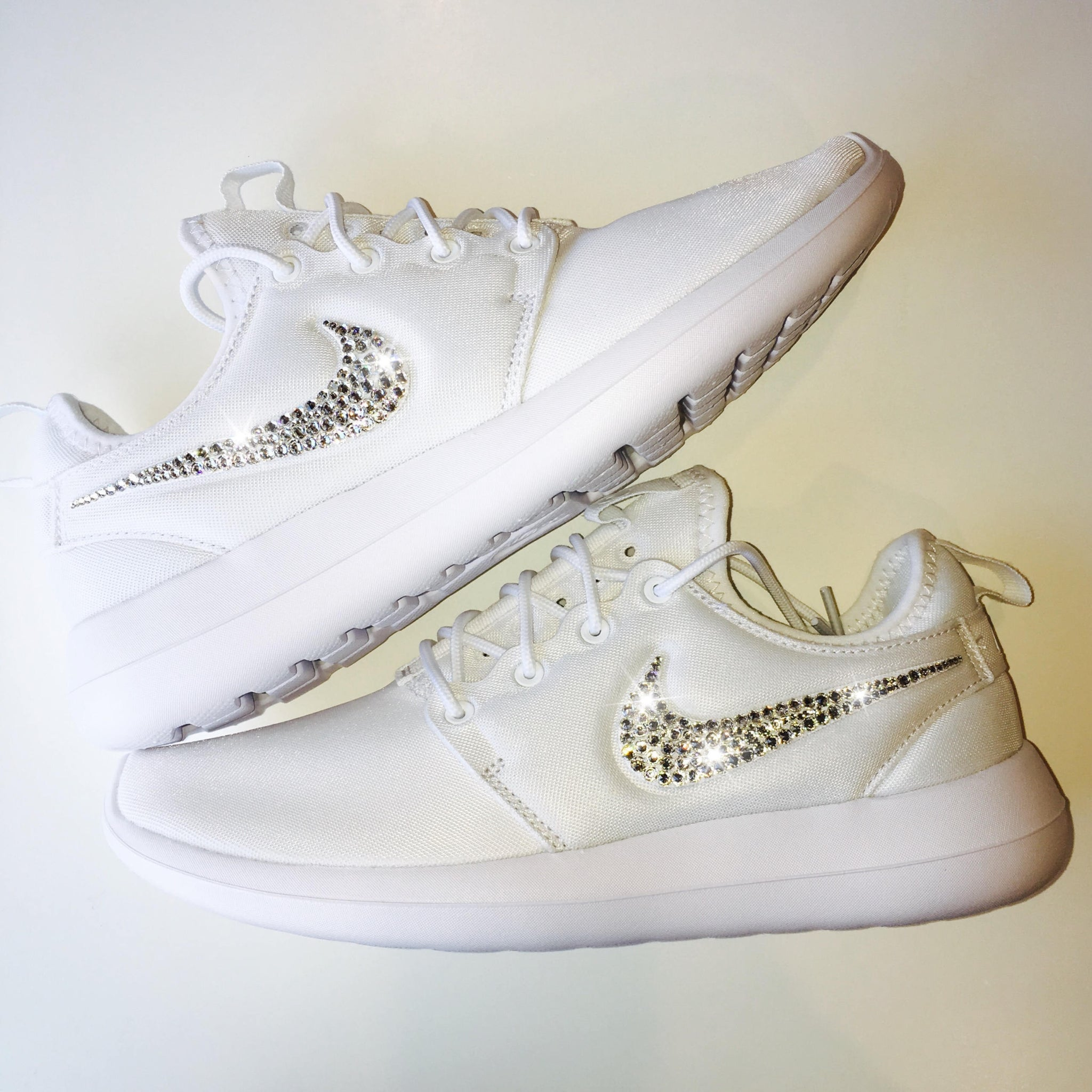 8236e27e1c81e9 Bling Nike Roshe Two Shoes with Swarovski Crystals   White   Bedazzled  Authentic Swarovski Crystal Rhinestones