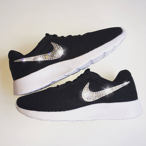 Bling Nike Tanjun Shoes with Swarovski Crystals * Black & White * Bedazzled Shoes with Rhinestones