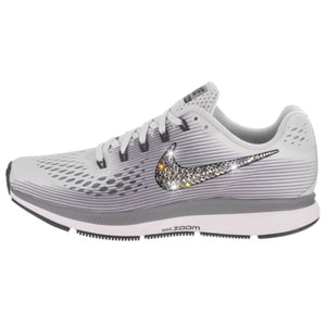 NEW Bling Nike Air Zoom Pegasus 34 Shoes with Swarovski Crystals * Pure Platinum / Cool Grey