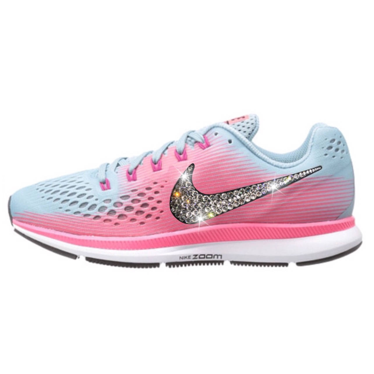 95e8c1129e45 NEW Bling Nike Air Zoom Pegasus 34 Shoes with Swarovski Crystals   Pink    Blue ...