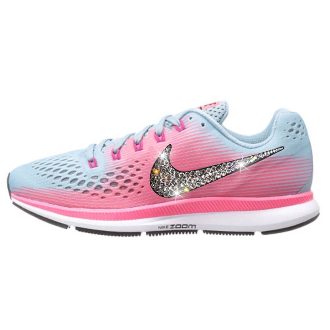 NEW Bling Nike Air Zoom Pegasus 34 Shoes with Swarovski Crystals * Pink & Blue *