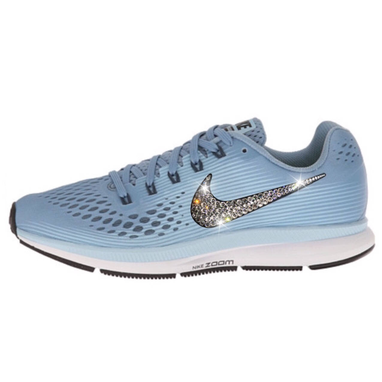 50620a85fb4f NEW Bling Nike Air Zoom Pegasus 34 Shoes with Swarovski Crystals   Blue    White ...