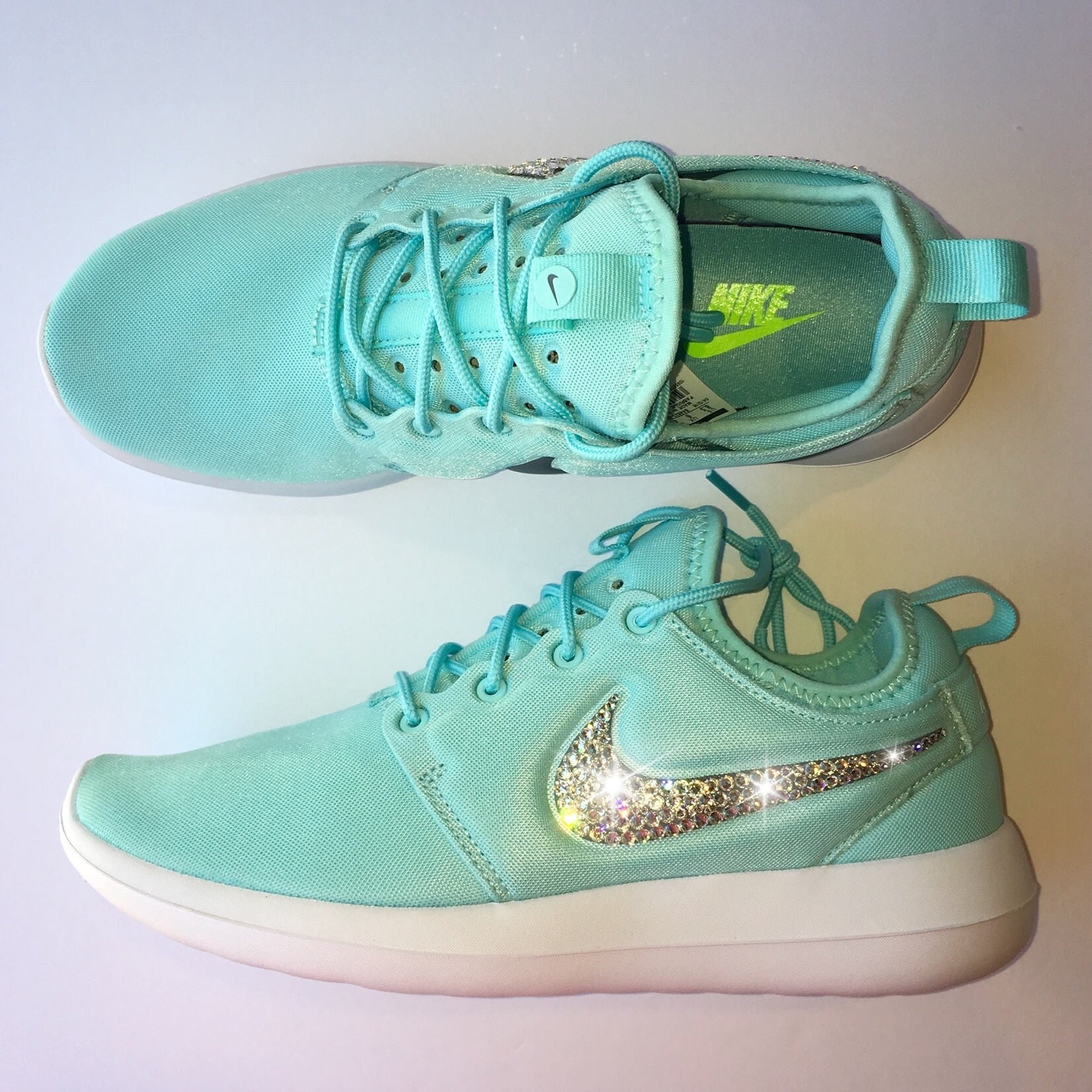 0437265d33c6 ... Bling Nike Roshe Two Women s Shoes - Tiffany Blue - Bedazzled with Real  Swarovski Crystals ...