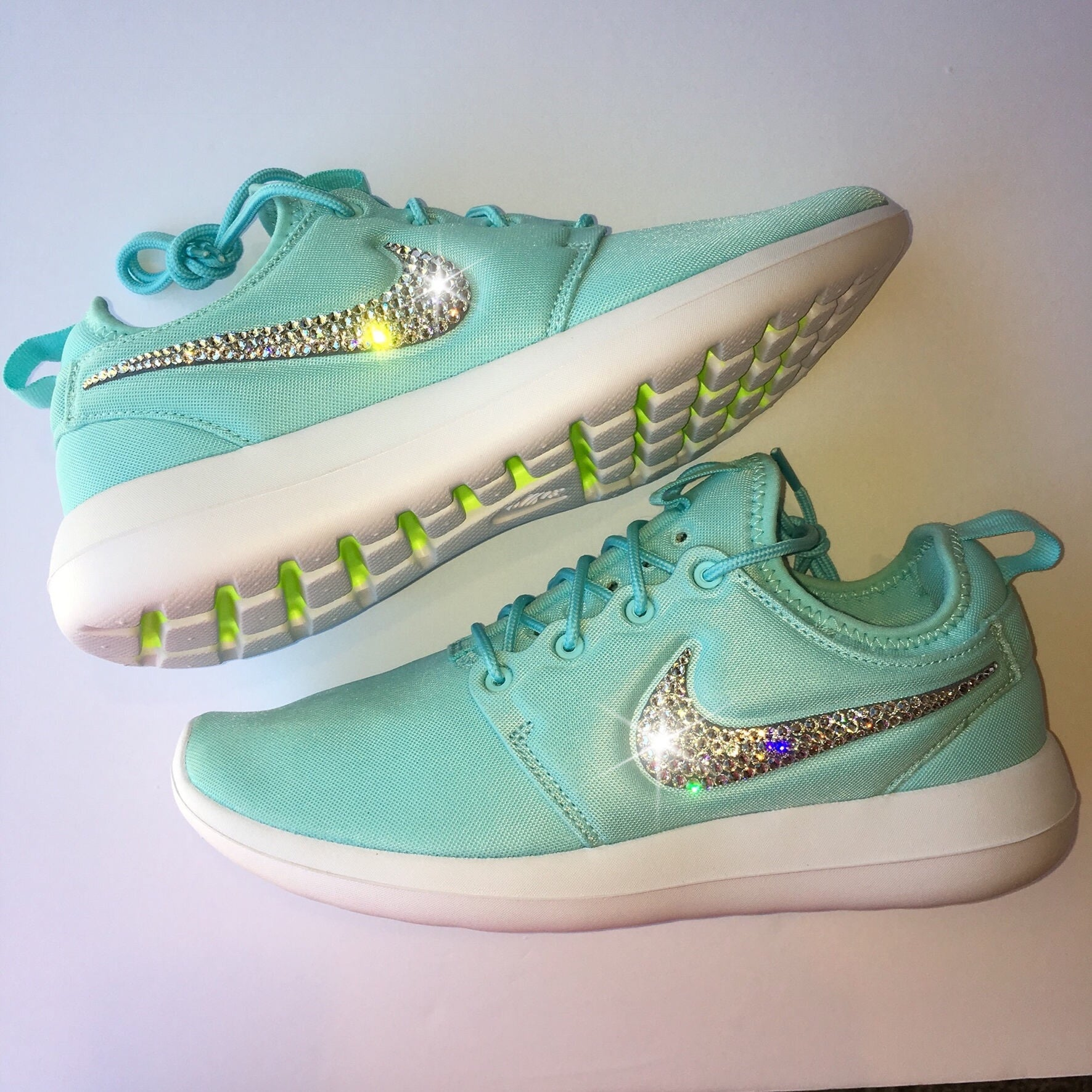 f619bd41b119 Bling Nike Roshe Two Women s Shoes - Tiffany Blue - Bedazzled with Real  Swarovski Crystals