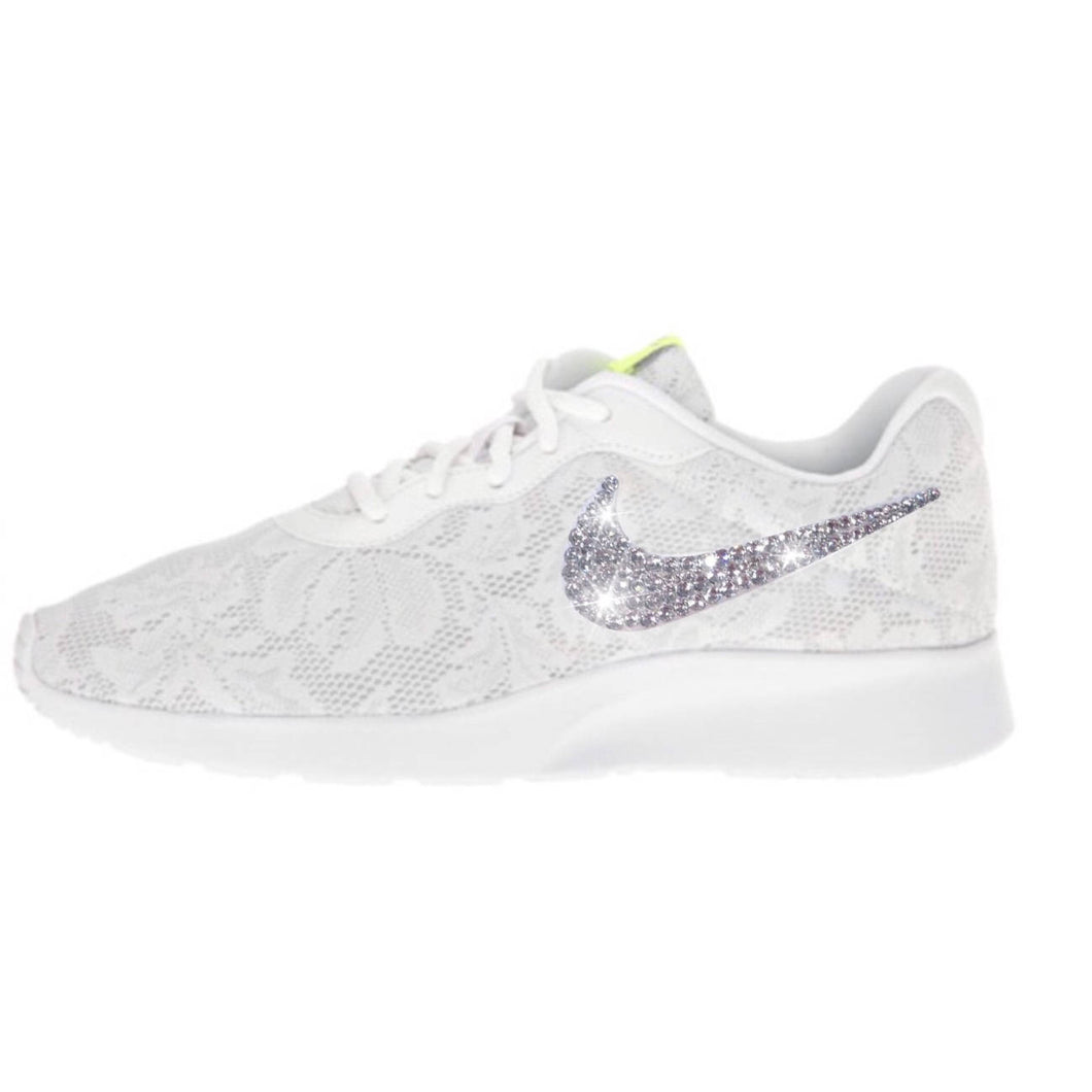 Bling Nike Tanjun ENG Shoes with Swarovski Crystals * White Lace * Bedazzled Shoes with Rhinestones