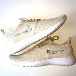 Nude Bling Nike Shoes with Swarovski Crystals * Nike Juvenate in Oatmeal / White * Bedazzled w/100% Authentic Swarovski Crystal Rhinestones