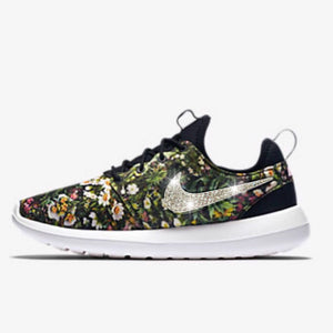 Bling Nike Roshe Two Print Shoes with Swarovski Crystals * Spring Garden - Floral * Bedazzled with Authentic Swarovski Crystal Rhinestones