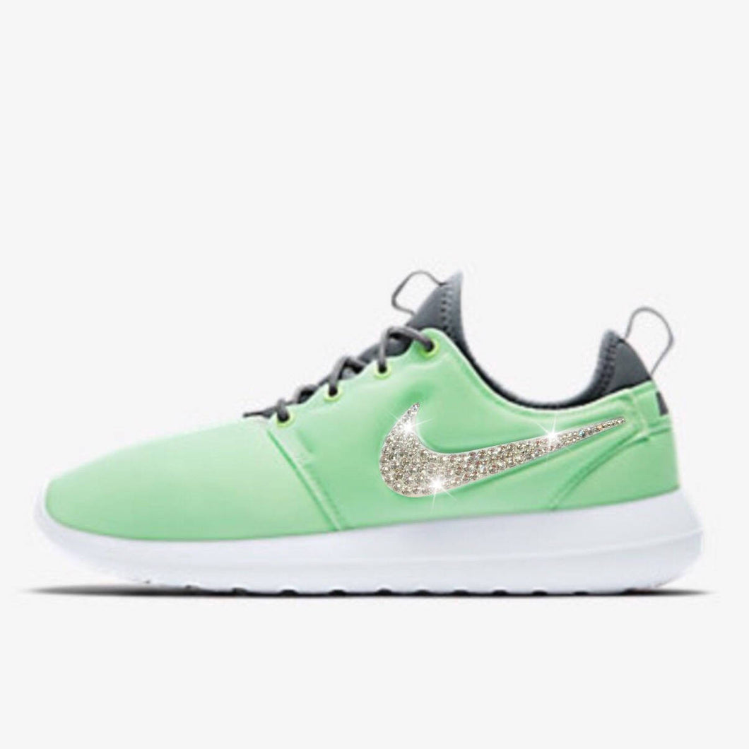 Bling Nike Roshe Two Print Shoes with Swarovski Crystals * Mint Green * Bedazzled with Authentic Swarovski Crystal Rhinestones