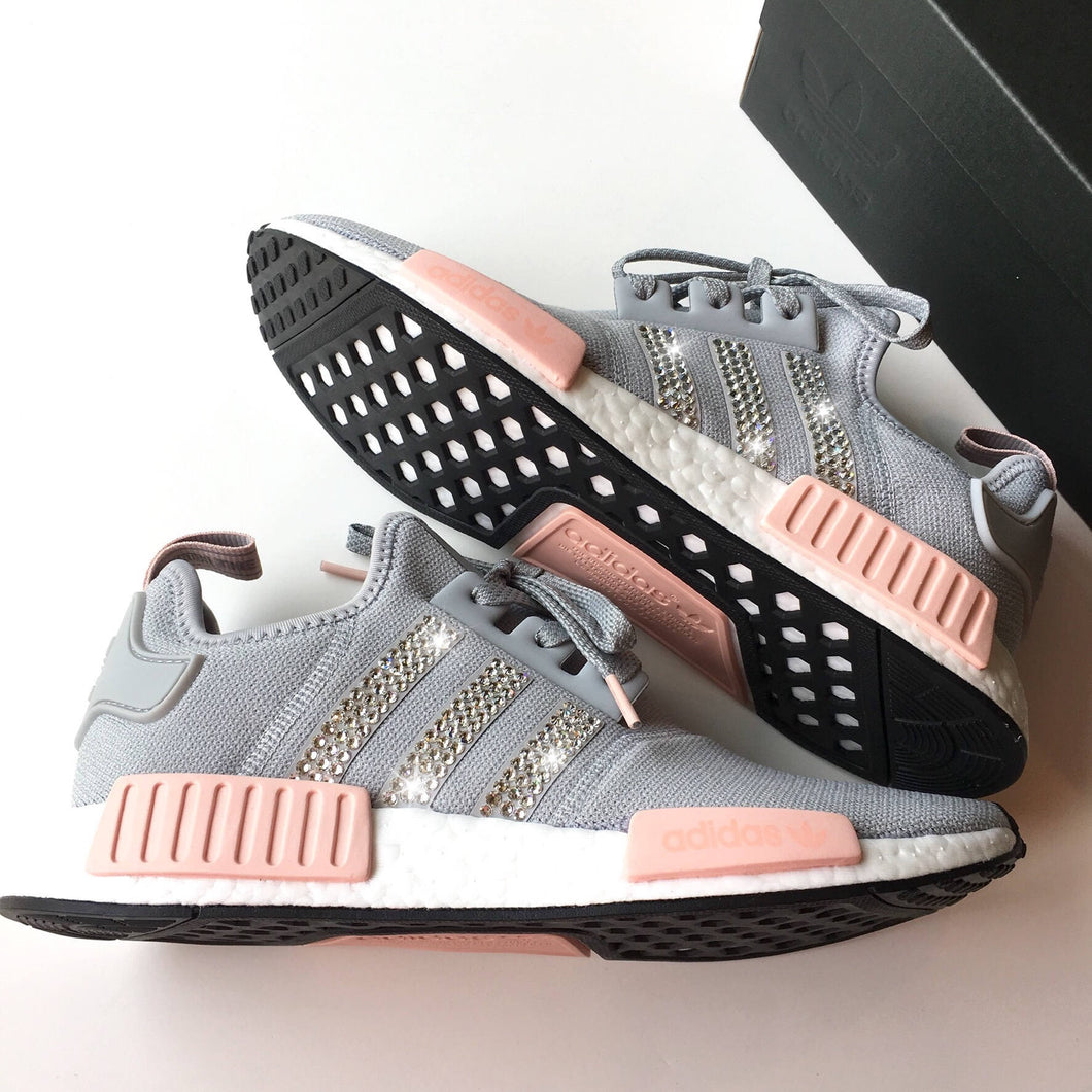 NEW Bling Adidas NMD with Swarovski Crystals * Women's Originals NMD_R1 Runners Casual Shoes * Grey