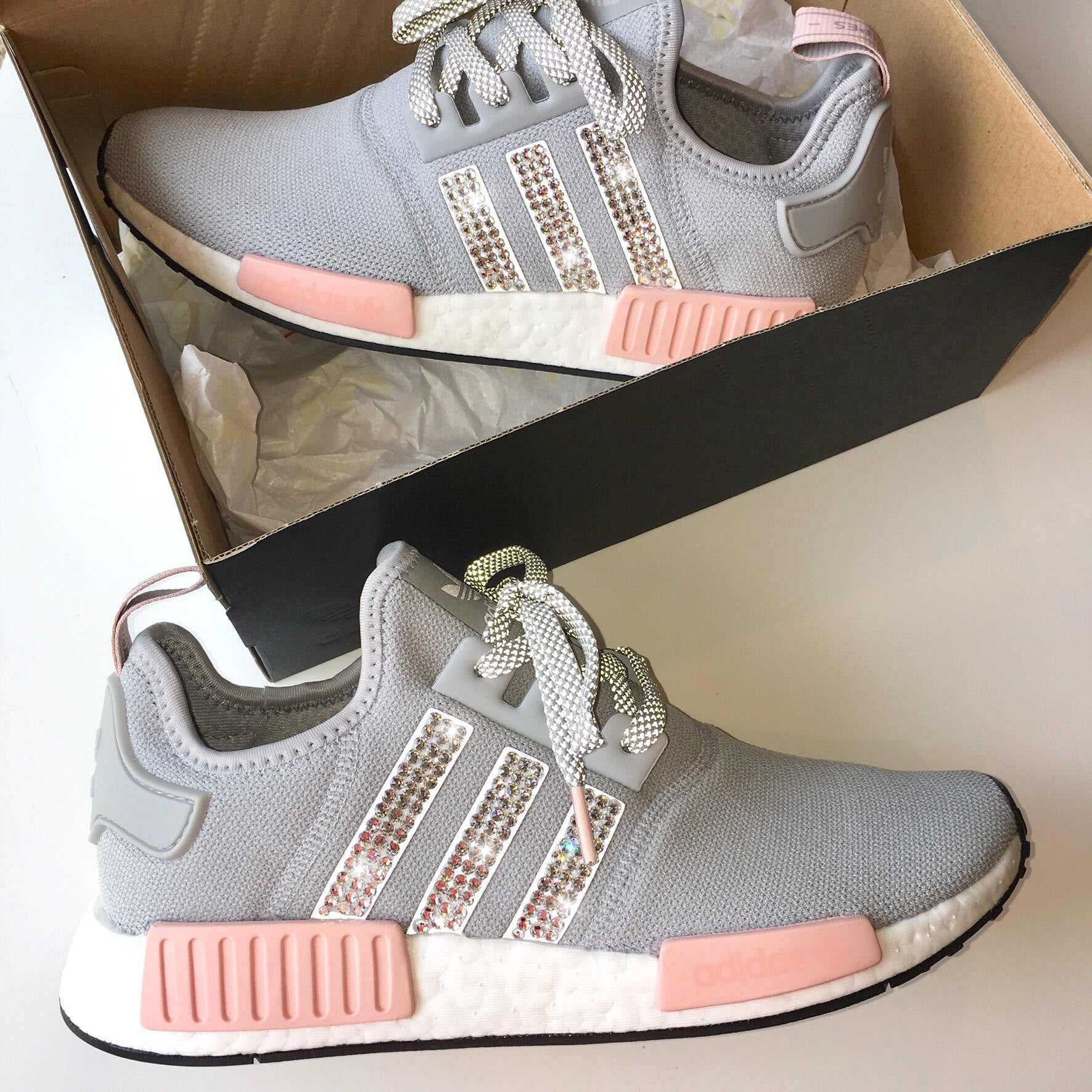 fe26f47d7 ... order new bling adidas nmd with swarovski crystals womens originals  nmdr1 runners casual shoes 8678c 964c8