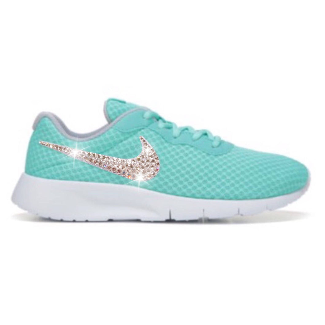 Bling Nike Tanjun Shoes with Swarovski Crystal Bedazzled Swooshes * Hyper Turquoise / White