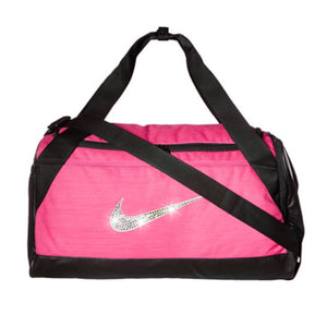 Bling Nike Brasilia Gym Bag with Swarovski Crystal Bedazzled Swoosh VIVID PINK