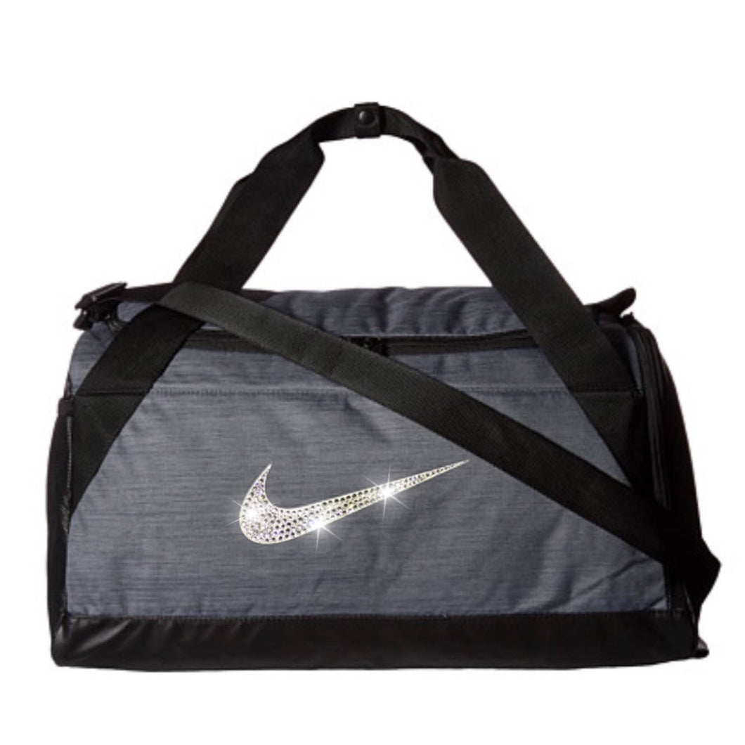 Bling Nike Brasilia Gym Bag with Swarovski Crystal Bedazzled Swoosh GREY