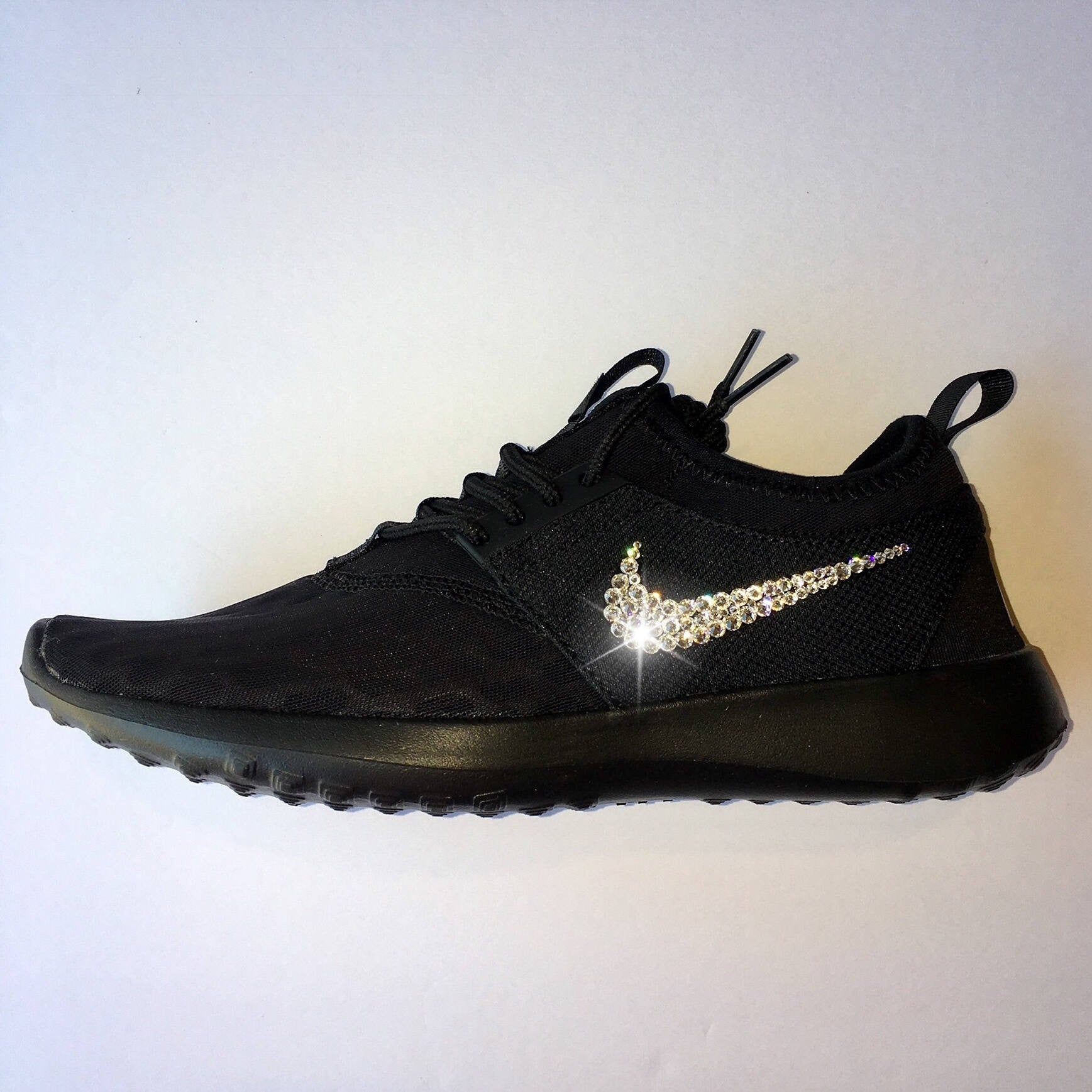 Bling Nike Juvenate Shoes with Swarovski Crystals   All Black   Bedazzled  w 100% ... d04f0dfa7797